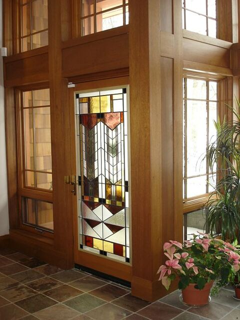 Stained glass in a front entry door