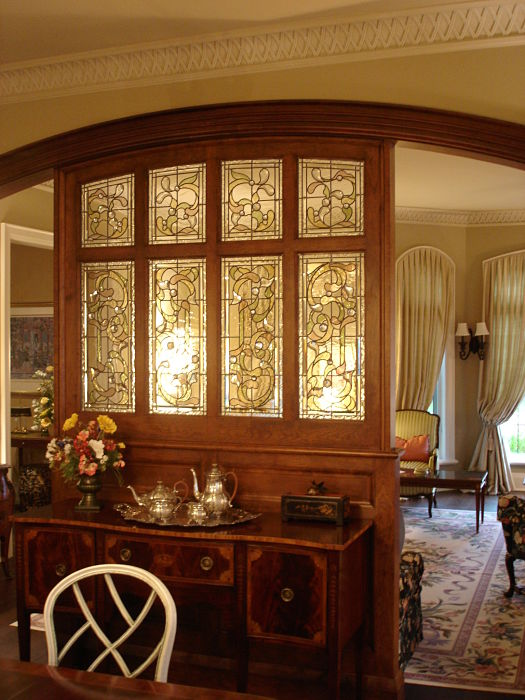 Stained and bevelled glass in a room divider