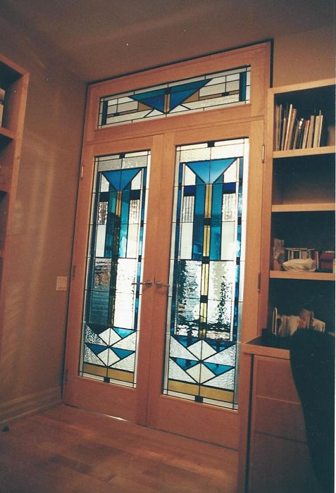 Stained glass in home office doors and transom
