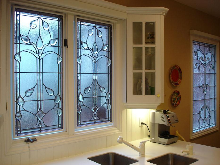 Leaded glass kitchen windows