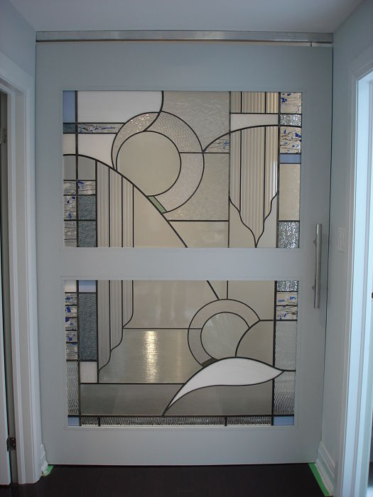 Abstract stained glass in a sliding pocket door