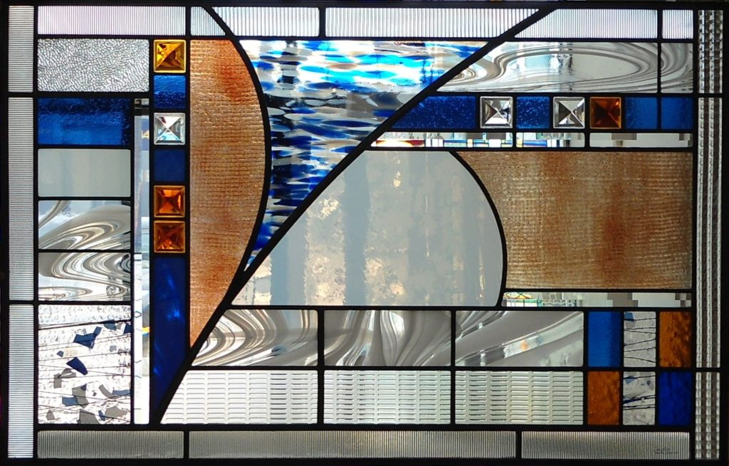 Stained glass abstract window by glass artist Thomas Smylie
