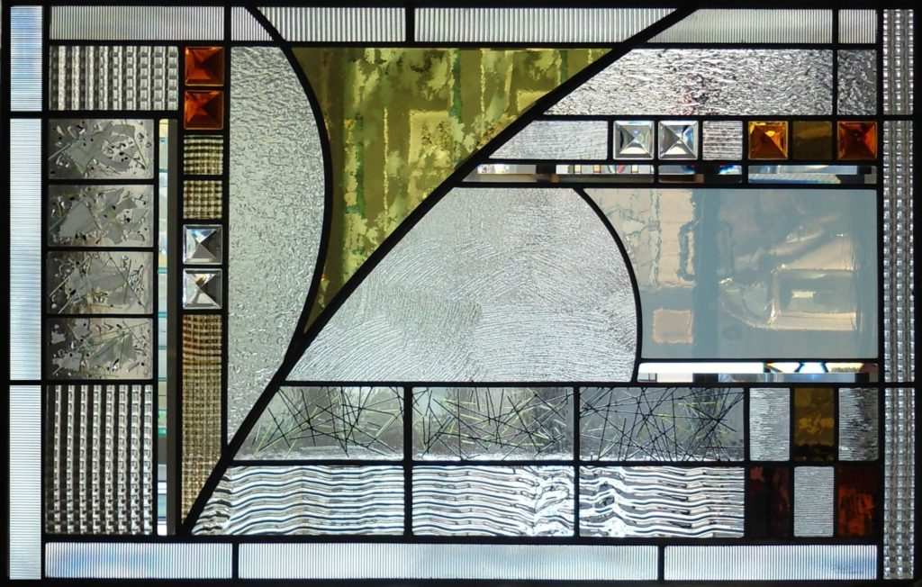Abstract stained glass window by artist Thomas Smylie