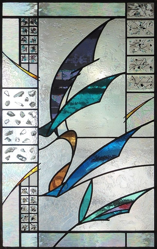 Stained glass abstract window WINGS by Thomas Smylie