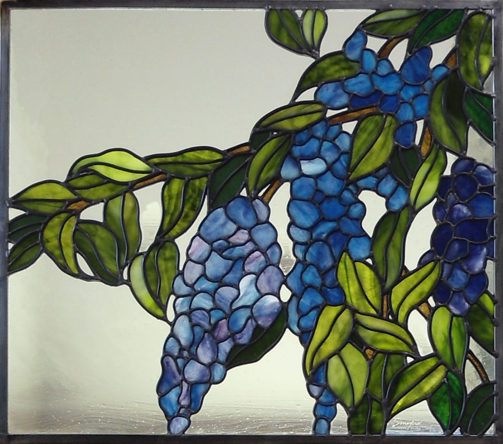 Stained glass wisteria window by The Glass Studio