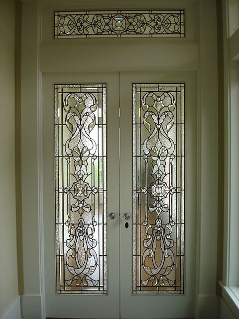 Leaded and bevelled glass doors and transom