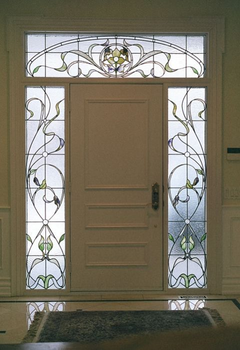 Stained glass sidelights and transom