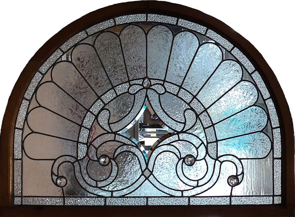Leaded glass semi-circle with bevelled glass, jewels and texures