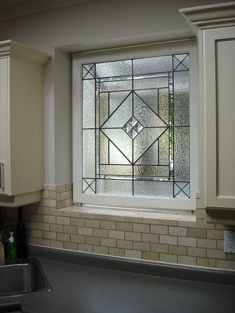 Leaded glass with jewels in a kitchen window