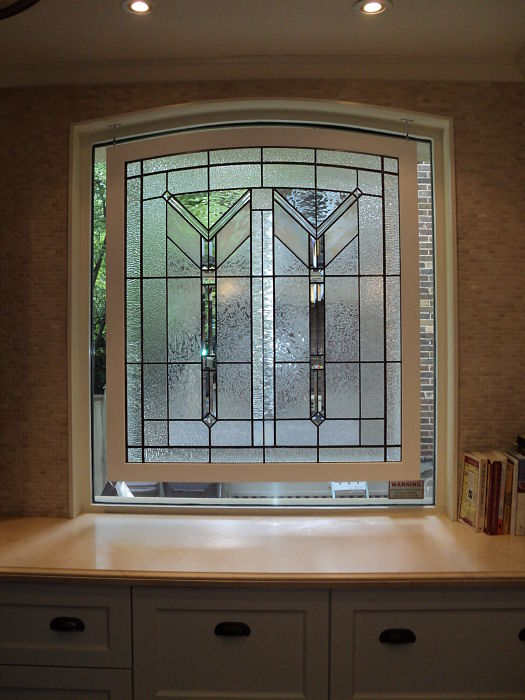 Leaded textural glass in a kitchen window