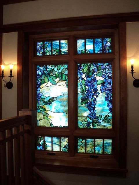 Blue green stained glass wisteria theme window