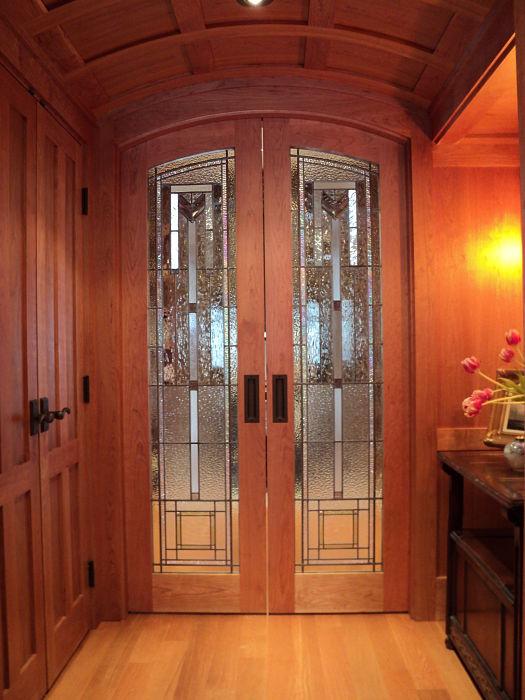 Leaded art glass in wood double doors