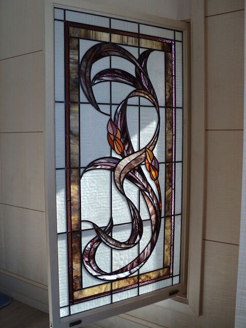 Stained glass art nouveau style window