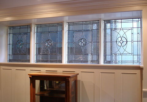 Leaded and bevelled glass window in a dining room