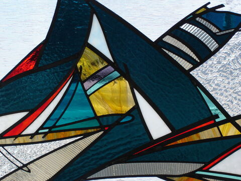 Close up detail of abstract stained glass window