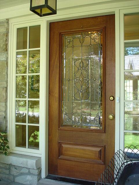 Leaded glass front door window with custom bevels