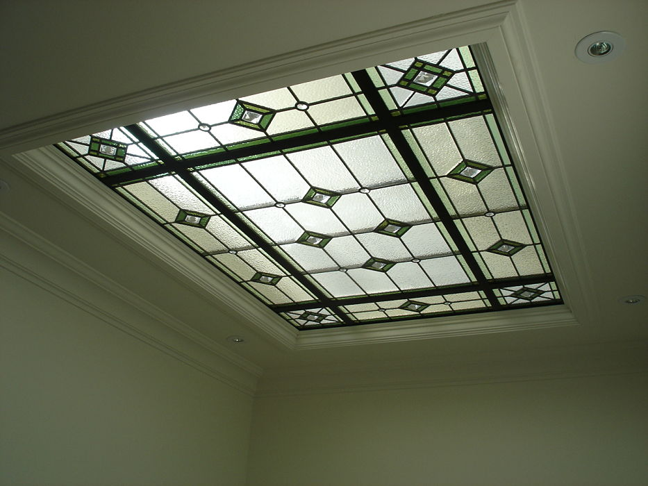 Stained glass skylight geometric green and white glass