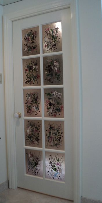 French door with custom fused glass panels