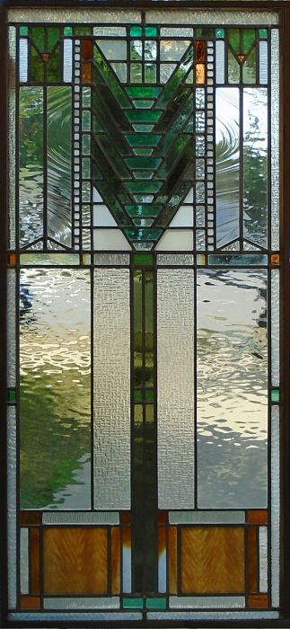 Stained glass window in the style of Frank Lloyd Wright by The Glass Studio