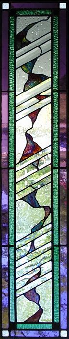 Abstract stained glass sidelight by The Glass Studio