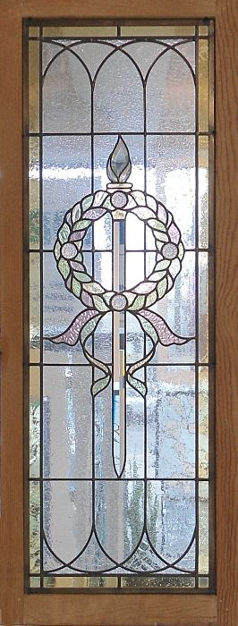 Stained glass window wreath and candle design by The Glass Studio