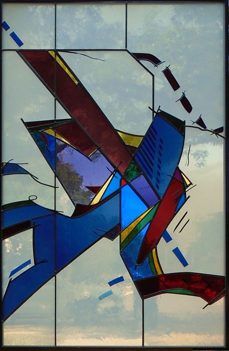 Stained glass abstract by glass artist Thomas Smylie at The Glass Studio