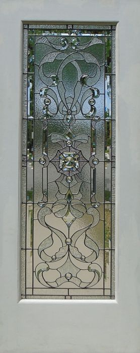 Leaded and hand-bevelled glass door panel by The Glass Studio