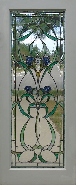 Art Nouveau stained glass door by The Glass Studio