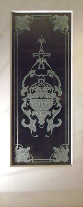 Sandblasted glass door with flower pot artwork by The Glass Studio
