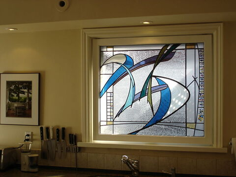 Abstract stained glass kitchen window