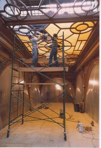 Glass Studio staff restoring the Ontario Legislature Atrium ceilings