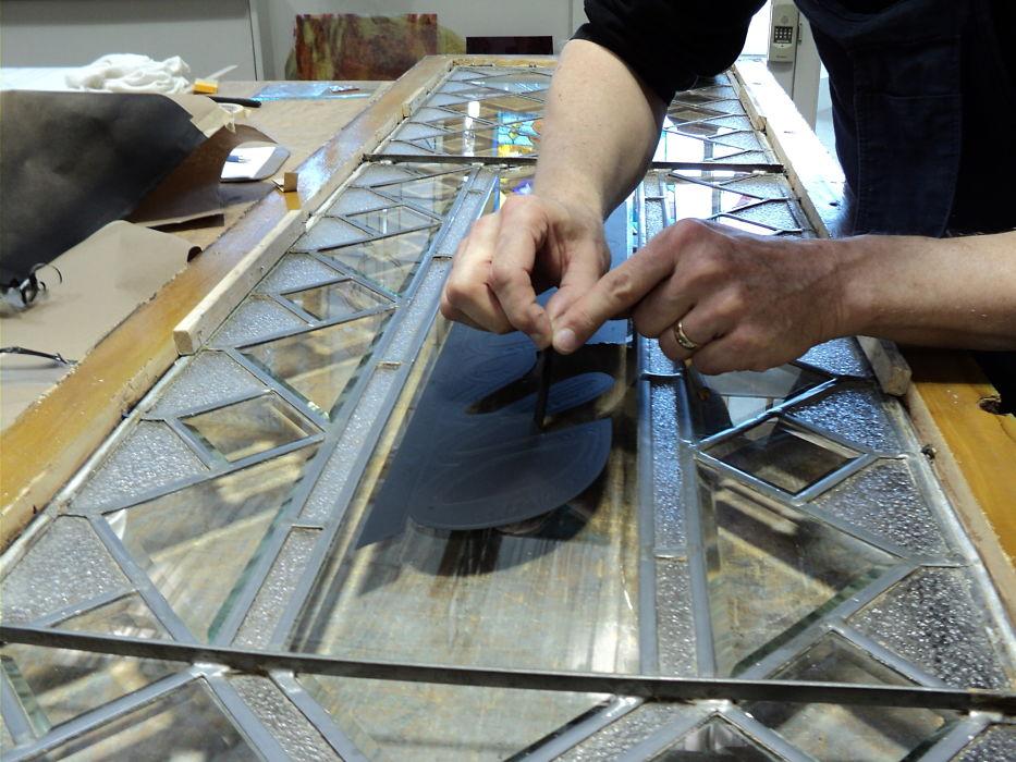 Restoration of bevelled glass window