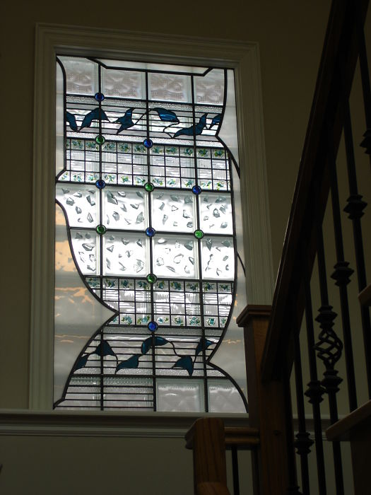 Stained glass abstract window in stairway