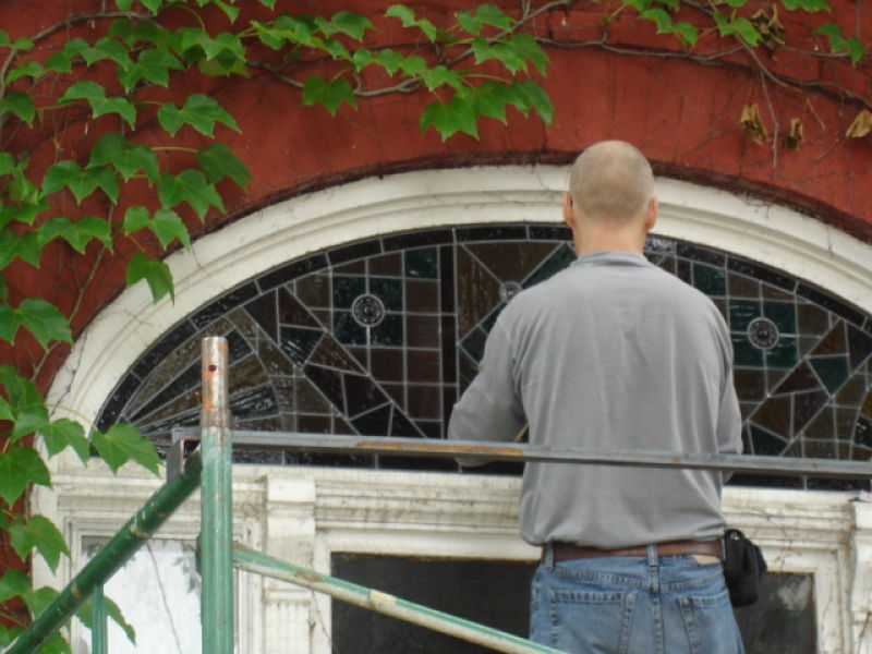 Installing a Victorian stained glass window