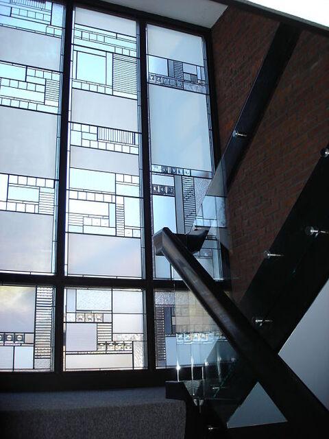 Leaded art glass windows in a stairway