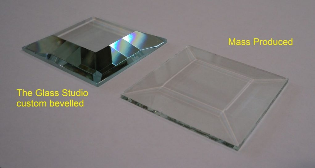 Comparison of custom bevelled glass with mass produced