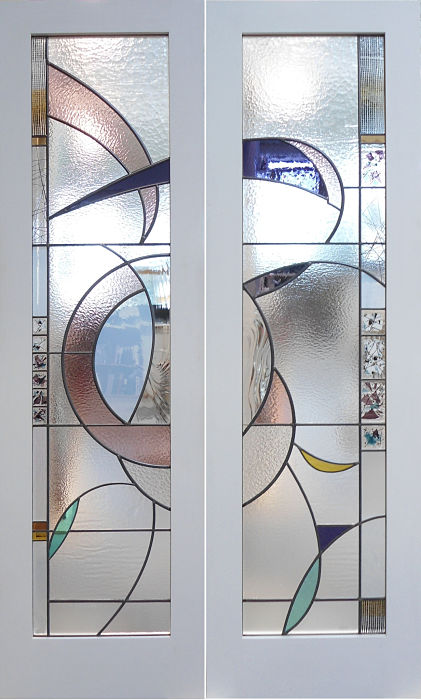 stained glass contemporary door panels