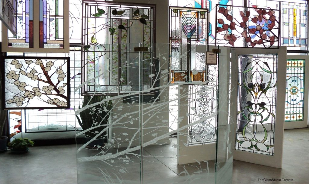 Stained glass windows displayed in The Glass Studio's Toronto showroom
