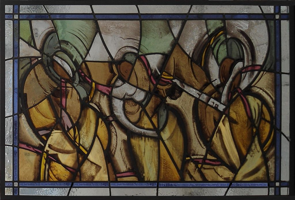 Stained glass window called 'The Dancers' in The Glass Studio's Toronto showroom