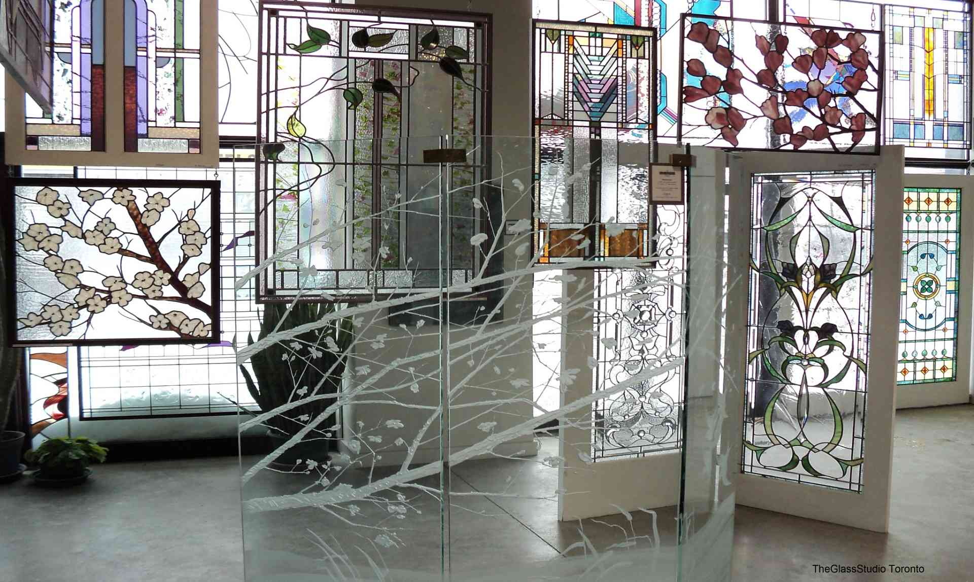 Stained glass windows on display in The Glass Studio's Toronto showroom