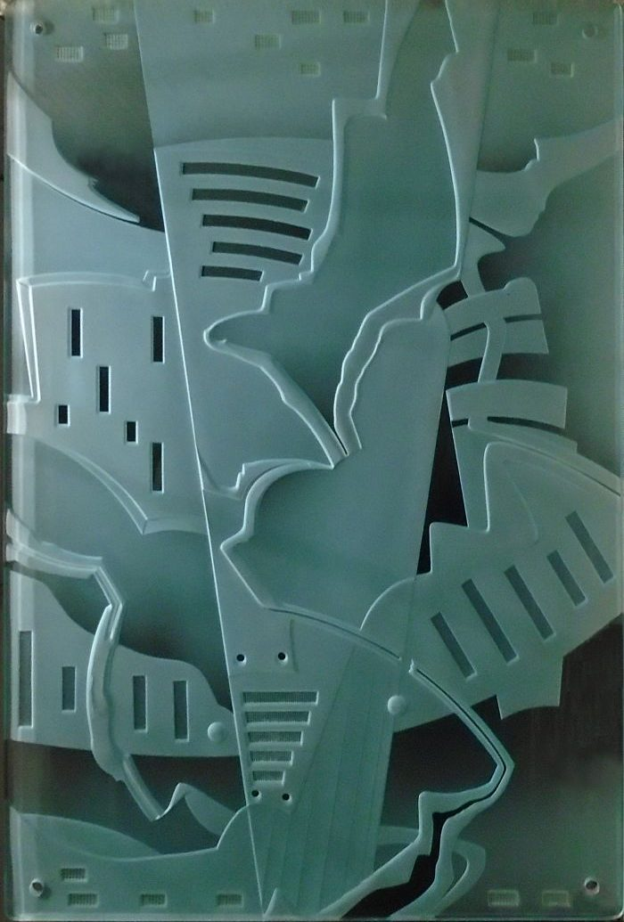 Carved glass artwork by Stephen Smylie THE CITY