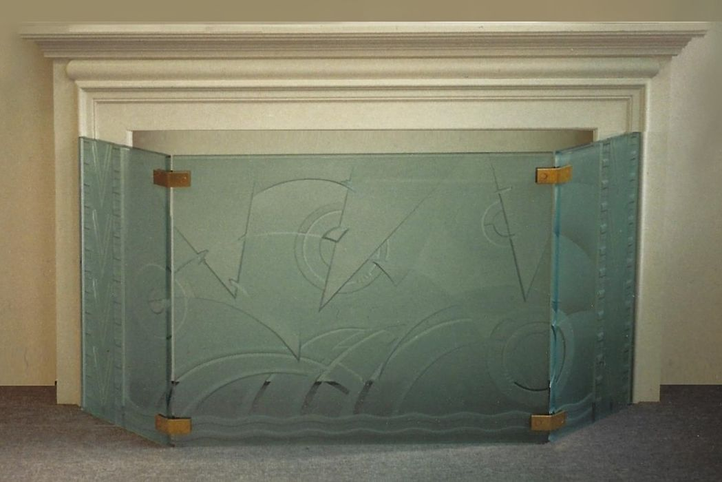 Carved glass 3-panel firscreen
